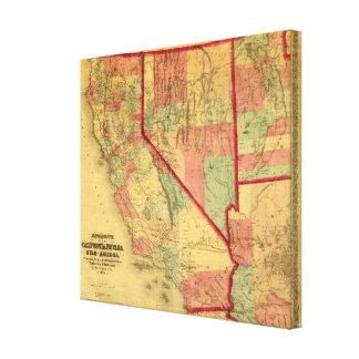 Bancroftのカリフォルニア、ネバダ、ユタの地図 キャンバスプリント