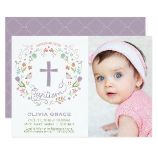 Baptism Invite for Girl - Photo, Custom, Pretty カード