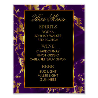 Bar Menu -  Purple and Gold Marble and Black ポスター