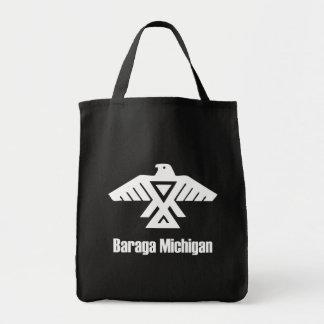 Baragaミシガン州Ojibweのネイティブアメリカンの黒のバッグ トートバッグ