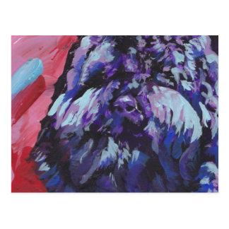 Barbetの明るいカラフルの破裂音犬の芸術 ポストカード
