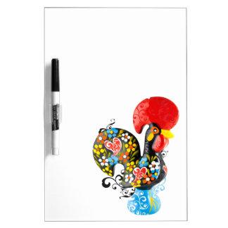 Barcelos Nr 06の有名なオンドリ-花の版 ホワイトボード