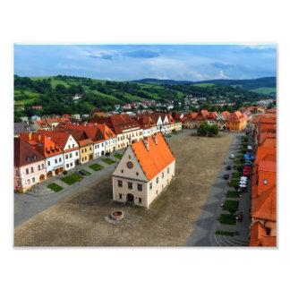 Bardejov、スロバキアの古い町の広場 フォトプリント