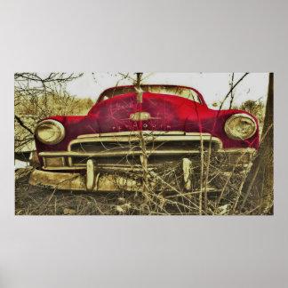 BargasArtworks赤いプリマスのデラックスなプリント ポスター