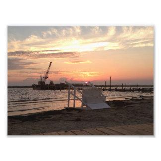Barnegat湾のハリケーンのサンディの日没 フォトプリント