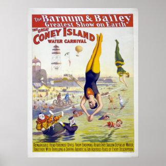 Barnum及びベイリーのコニーアイランドのサーカスの広告 ポスター