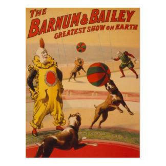 Barnum及びベイリー-すばらしいフットボール犬 ポストカード