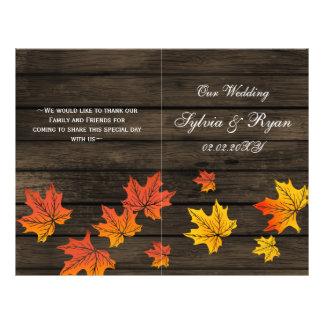 barnwoodの折られる素朴な秋の結婚式プログラム チラシ