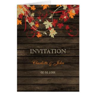 Barnwoodの招待を結婚する素朴な紅葉 グリーティングカード