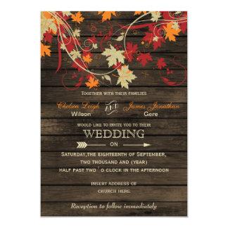 Barnwoodの素朴な紅葉の結婚式招待状 12.7 X 17.8 インビテーションカード