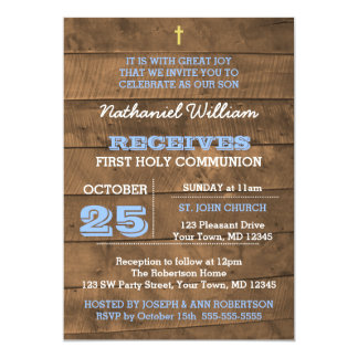 Barnwoodの青の最初聖餐の招待状 カード