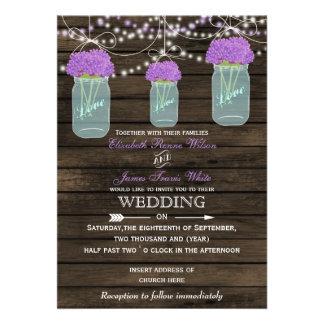 Barnwood、 紫色 石大工 瓶 結婚 招待状 案内状