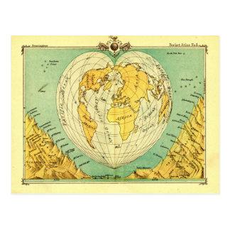Bartholomewのハート形の郵便はがきの世界地図 ポストカード