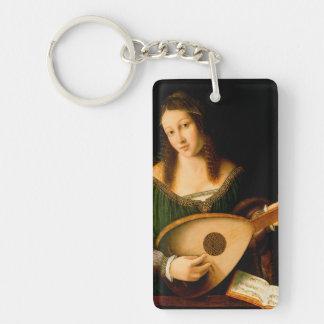 Bartolomeoベネトの女性Playing Lute Portrait Art キーホルダー