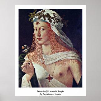 Bartolomeoベネト著Lucrezia Borgiaのポートレート ポスター