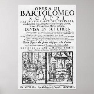 Bartolomeo Scappiの本を調理するFrontispiece ポスター