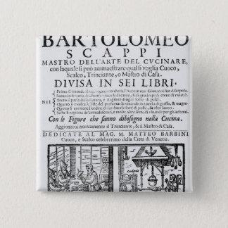 Bartolomeo Scappiの本を調理するFrontispiece 5.1cm 正方形バッジ