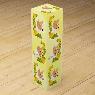 Basenjiおよび黄色バラ ワインギフトボックス