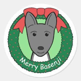 Basenjiのクリスマス ラウンドシール