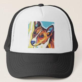 Basenjiの明るいカラフルの破裂音犬の芸術 キャップ