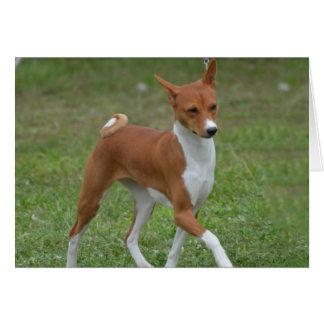 Basenji意気揚々と歩く犬 カード