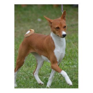 Basenji意気揚々と歩く犬 ポストカード