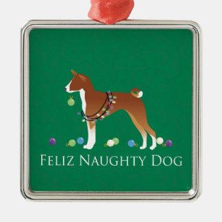 Basenji Felizいけない犬のクリスマス メタルオーナメント