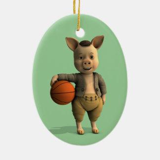 Basketballerのコブタ セラミックオーナメント