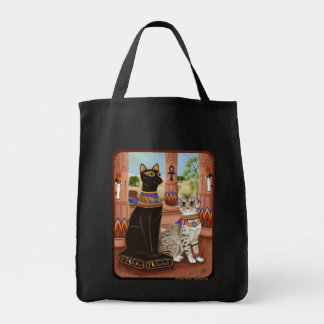 Bastetエジプトの靭皮繊維の女神猫の芸術のバッグの寺院 トートバッグ