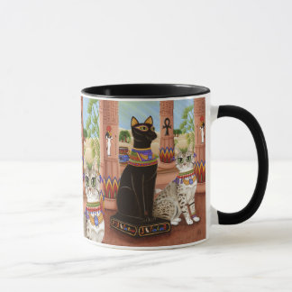 Bastetエジプトの靭皮繊維の女神猫の芸術のマグの寺院 マグカップ