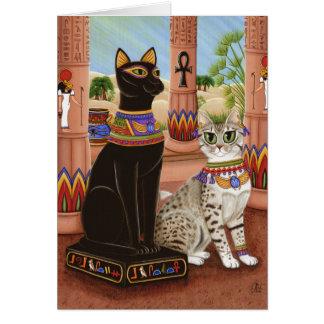 Bastetエジプトの靭皮繊維の女神猫の芸術カードの寺院 カード