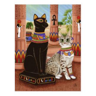 Bastetエジプトの靭皮繊維の女神猫の郵便はがきの寺院 ポストカード