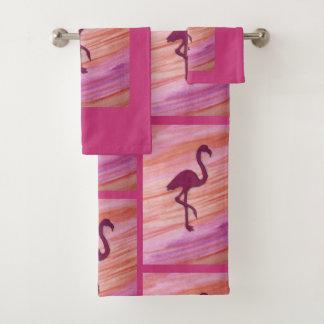 Bathの装飾のためのピンククレーン バスタオルセット
