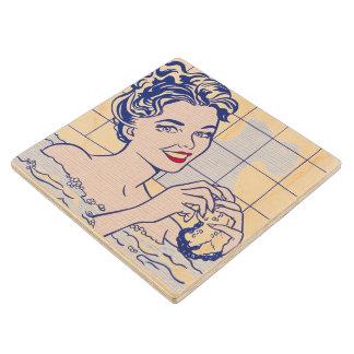 Bath -リキテンスタイン-の女性ヴィンテージのポップアート ウッドコースター