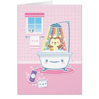Bathtimeくまの挨拶状 グリーティングカード