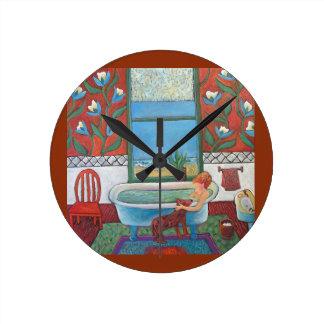Bathtimeの時計の訪問者 ラウンド壁時計