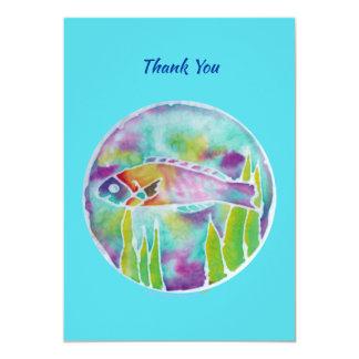 Batik Hinalea Hawaiian Fish Batik Art Thank You カード