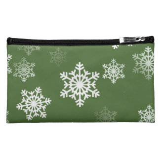 Bayberryの緑および白い雪の薄片の突風 コスメティックバッグ