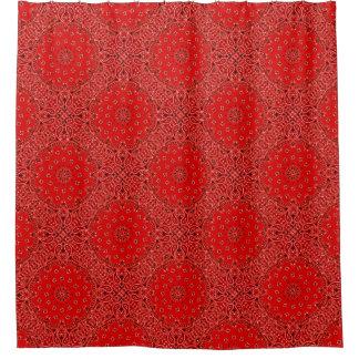BBQの赤いバンダナのペイズリーのBohoのヒッピーの魅力の国 シャワーカーテン