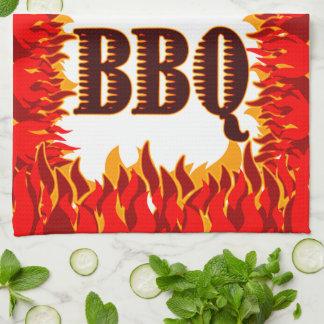 BBQの赤は台所タオルを炎にあてます キッチンタオル