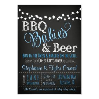 BBQベビー及びビール黒板のベビーシャワー招待状 カード