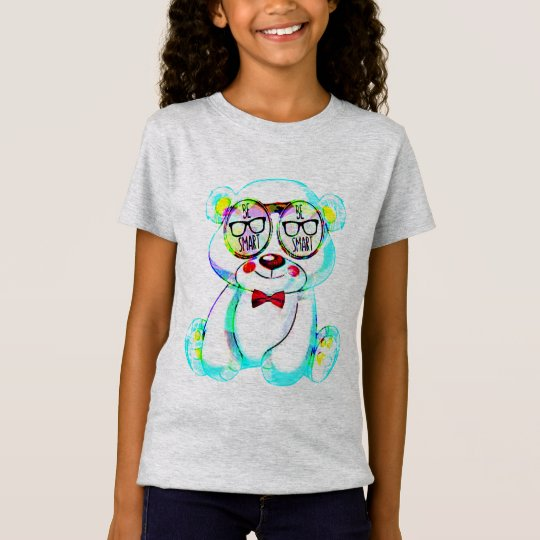 be smart glasses  teddy bear t-shirt design kids tシャツ