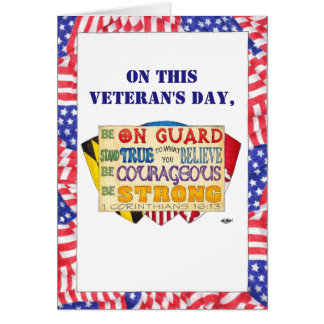 Be Strong Shield Custom Veteran's Day Card カード