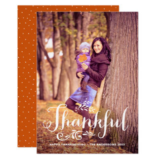 Be Thankful Whimsical Photo Happy Thanksgiving 12.7 X 17.8 インビテーションカード
