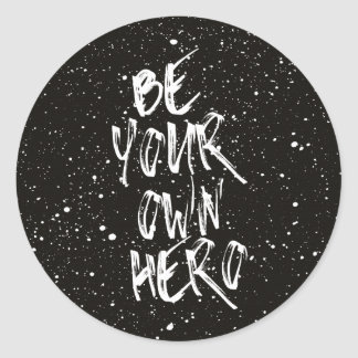 Be Your Own Hero (Black) Quote ラウンドシール