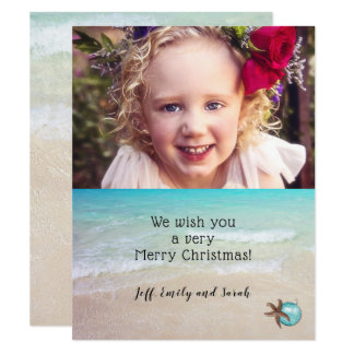 Beach Christmas Photo Card Starfish Design カード