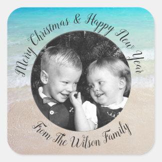 Beach Christmas Photo Greeting Square Sticker スクエアシール