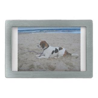 beach.pngのビーグル犬 長方形ベルトバックル