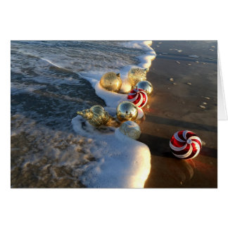 Beach with Christmas Ornaments カード