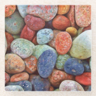 Beachyカラフルの石ガラスのコースター ガラスコースター